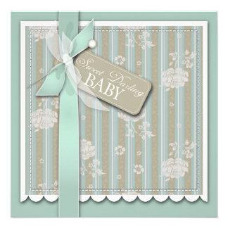 Cartão quadrado recém-nascido convites personalizado