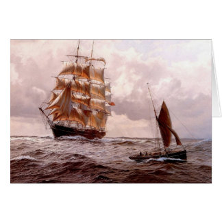 Cartão Quadrado-rigger e barco tradicional no mar