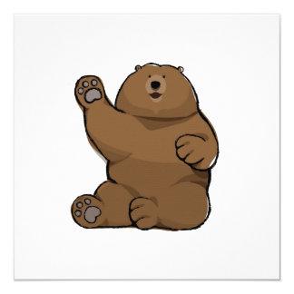 Cartão quadrado vazio de ondulação do urso convite quadrado 13.35 x 13.35cm