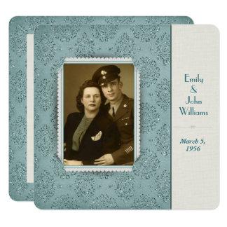 Cartão quadro da foto do damasco do brilho do vintage da