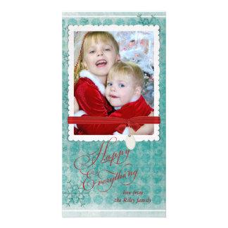 Cartão Quadro da foto do floco de neve do Natal