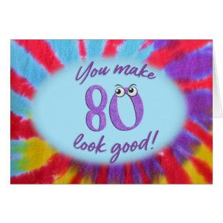 Cartão quadro da tintura do laço do aniversário do 80