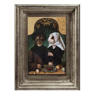 Cartão quadro do retrato do hamster família real