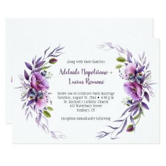 Cartão Quadro malva roxo violeta dos Wildflowers que