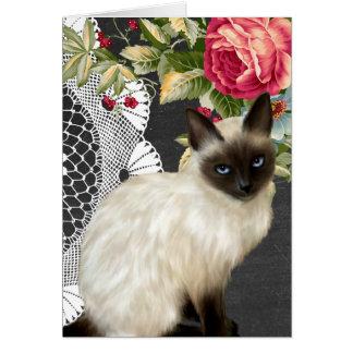 Cartão Quadro Notecard com o gato Siamese pintado