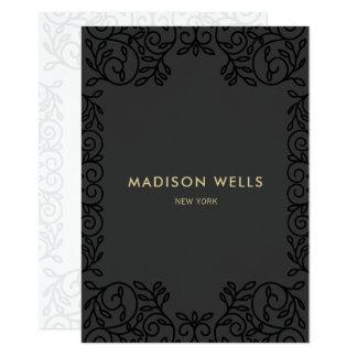 Cartão Quadro ornamentado preto chique à moda