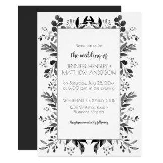 Cartão Quadro vertical preto   de Botanicals das cinzas e