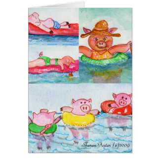Cartão Quando os leitão flutuarem - porcos da natação
