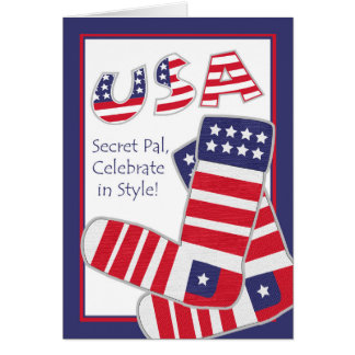 Cartão Quarto de julho para o amigo secreto, meias