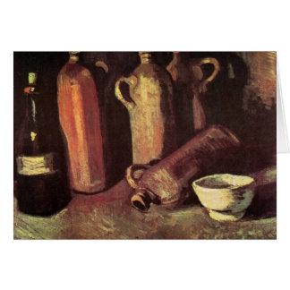 Cartão Quatro garrafas de pedra, garrafa e copo branco -