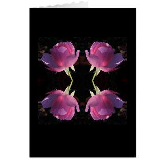Cartão Quatro rosas cor-de-rosa