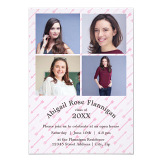 Cartão Quatro setas do rosa da colagem das fotos -