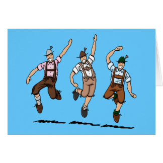 Cartão que dança homens bávaros dos Lederhosen