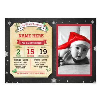 Cartão que do Stats do bebê do Natal meu primeiro Convite 12.7 X 17.78cm
