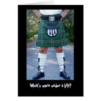 Cartão Que é vestido sob um kilt?