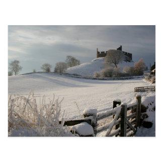 Cartão que mostra o castelo de Hume no inverno