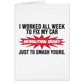 Cartão Quebra de Derby da demolição seu carro