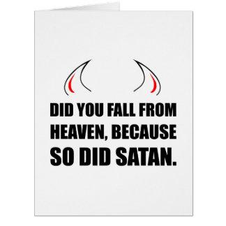 Cartão Queda da satã do céu