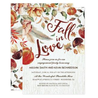 Cartão Queda na festa de noivado da abóbora da colheita