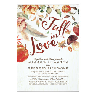 Cartão Queda no casamento floral rústico de Boho Pumpink