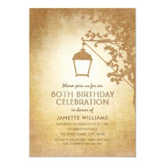 Cartão Queda rústica da festa de aniversário do 80 da