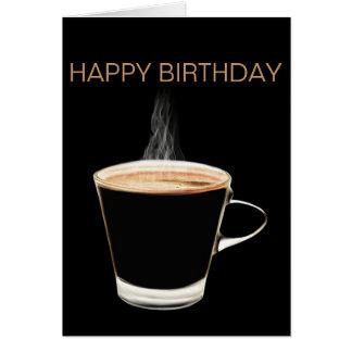 Cartão quente do feliz aniversario do café (vazio)