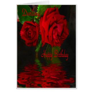 Cartão Querido Refelcted-Feliz do aniversário da rosa