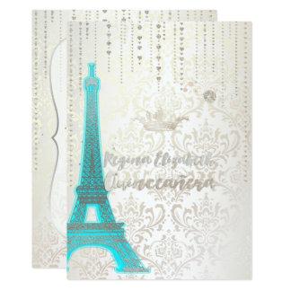 Cartão Quinceanera/Eiffel/azul/princesa/coroa de Tiffany