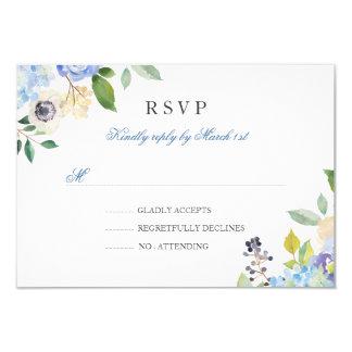 Cartão Quinceanera floral azul elegante RSVP