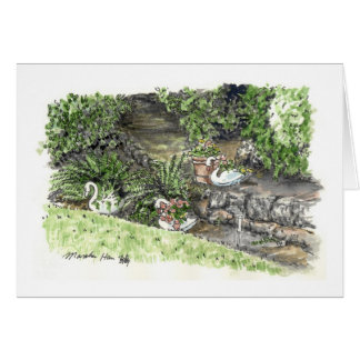 Cartão quintal com plantes do ganso