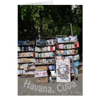 Cartão Quiosque de livros de Havana Cuba
