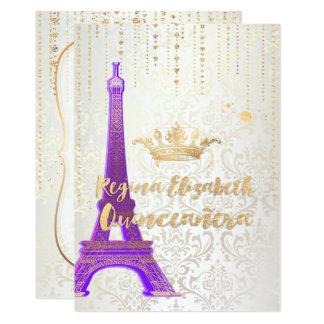 Cartão Quniceanera/torre Eiffel/princesa parisiense/roxo