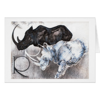 Cartão R é para o rinoceronte