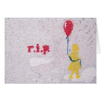 Cartão r.i.p. estêncil: menina com o balão vermelho