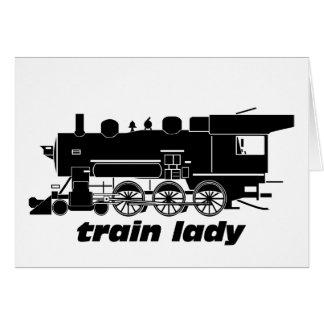 Cartão Railroading modelo da senhora do trem