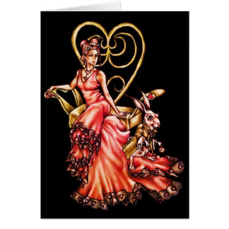 Cartão Rainha dos corações com o desenho branco do coelho