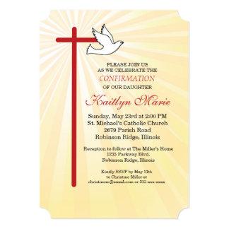Cartão Raios do ouro da cruz vermelha & da pomba do