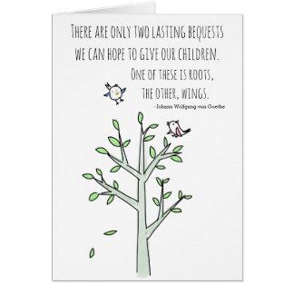 Cartão Raizes e asas que inspiram citações da