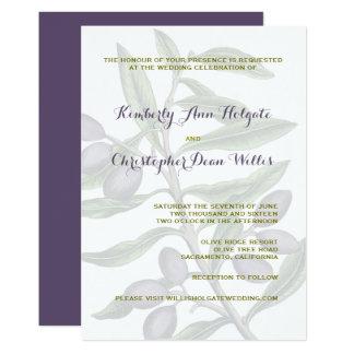 Cartão Ramo de oliveira que Wedding o roxo verde de |