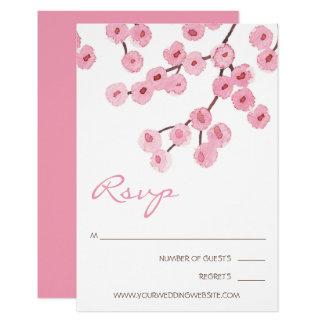 Cartão Ramos da flor de cerejeira da aguarela
