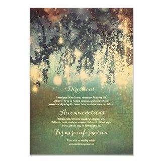 Cartão Ramos de árvore das luzes que Wedding a inserção