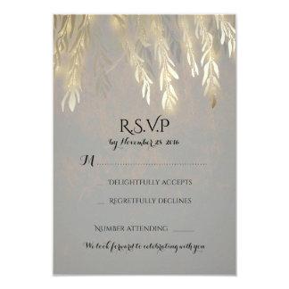 Cartão Ramos de árvore do salgueiro do ouro que Wedding