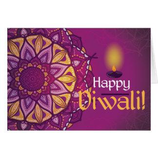 Cartão Rangoli decorativo roxo do diwali feliz