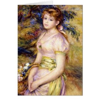 Cartão Rapariga com uma cesta das flores por Renoir