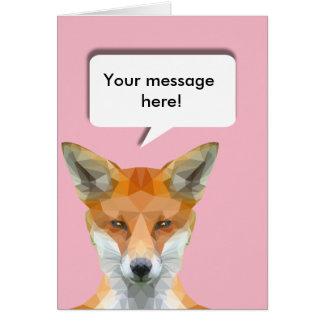 Cartão Raposa bonito com bolha editável do discurso
