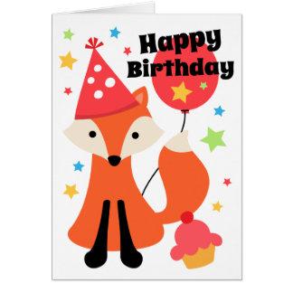 Cartão Raposa bonito com feliz aniversario da estrela do