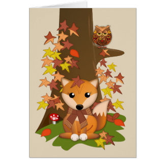Cartão Raposa bonito e coruja no outono