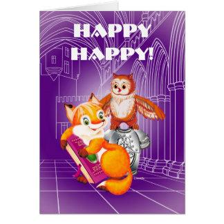 Cartão raposa e coruja