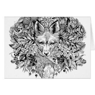 Cartão Raposa preto e branco na floresta