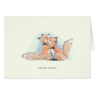 Cartão Raposas no amor: Com muita afeição